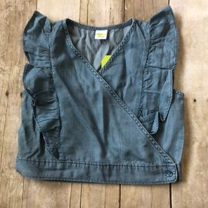 NWT girls Crazy 8 chambray ruffle top size M(7-8)